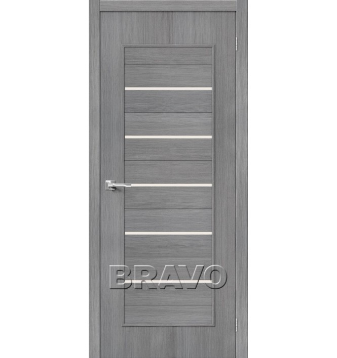 Дверь межкомнатная 3D-Graf «Тренд-22» Grey остекление Сатинато белое
