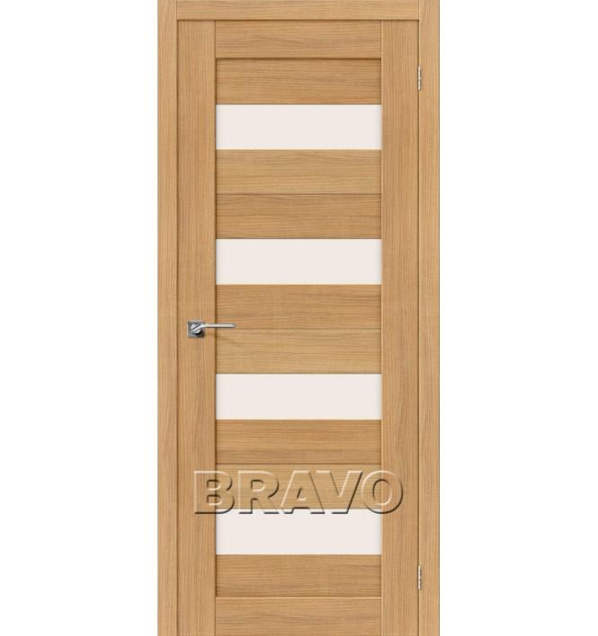 Дверь межкомнатная из эко шпона «Порта-23» Anegri Veralinga остекление Сатинато белое