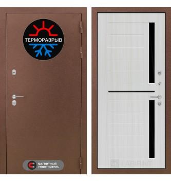 Входная дверь Термо Магнит 02 - Сандал белый, стекло черное