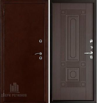 Дверь входная уличная Термо 3, цвет антик медь, панель - чиж цвет венге