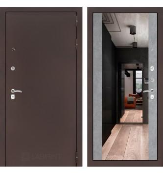 Входная дверь CLASSIC антик медный с Зеркалом Максимум - Бетон светлый