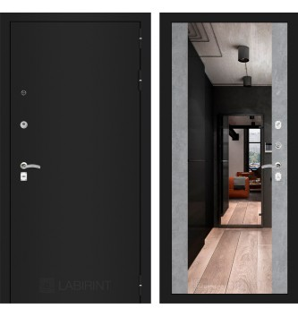 Входная дверь CLASSIC шагрень черная с Зеркалом Максимум - Бетон светлый